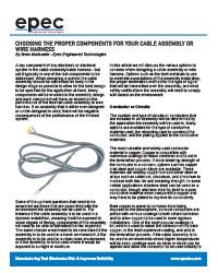 Choosing the Proper Components for Your Cable Assembly or Wire Harness