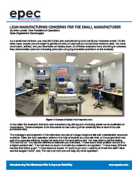 Lean Manufacturing Concerns for the Small Manufacturer