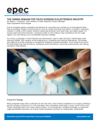 The Coming Demand For Touch Screens In Electronics Industry