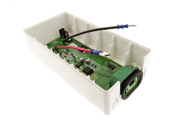 Battery pack plastic enclosure with internal components