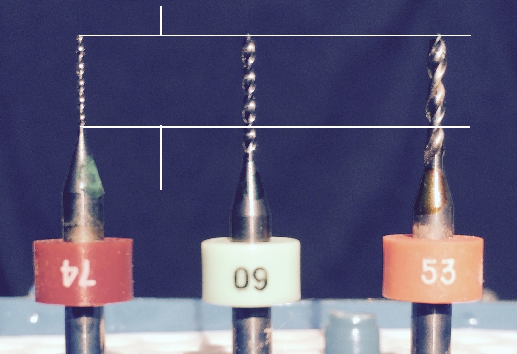 Example of shorter drill sizes used in manufacturing