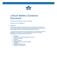 IATA - Lithium Battery Guidance Document
