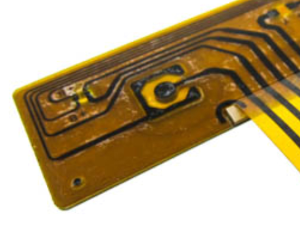 Photo of FPC Circuit Traces Powering Bi-colored LED