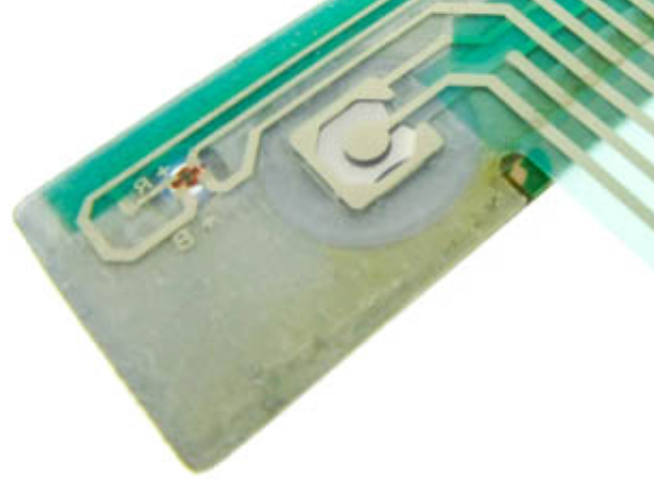Photo of PET Circuit Traces Powering Bi-colored LED