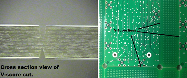V-scored PCB and a cross sectional view of a V-score cut.